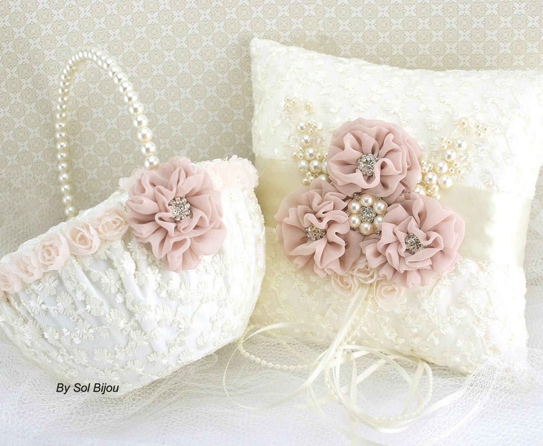Flower Girl Baskets And Ring Pillows : Ring bearer pillow flower girl basket ivory cream blush