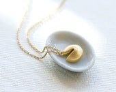 Fortune cookie necklace, Gold filled necklace, Charm necklace, minimalist necklace, dainty necklace