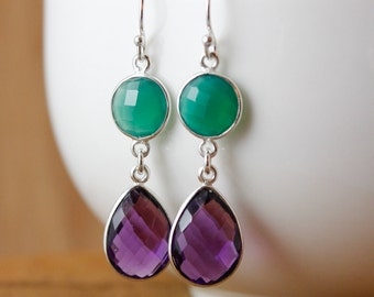 Green Onyx & Amethyst Quartz Earrings - 925 Sterling Silver
