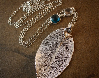 Silver Rose Leaf Necklace - Leaf Jewelry - Long Necklaces, Quartz