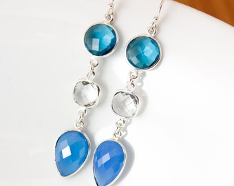 Silver London Blue Quartz, Crystal Quartz, & Blue Chalcedony Earrings - Something Blue