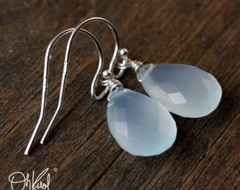 Glowing Aqua Chalcedony Earrings - Gold or Silver - Sea Green