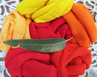5 Summer Headband Headwraps Bright Red Orange Cotton single colors - Choose any 5 Light Midi wraps