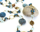 natural stone  ...   bead  ...   crystal  ...   blue and gold necklace