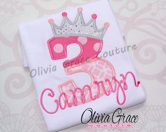 Princess Birthday Shirt - Girls Birthday Shirt - Frozen Birthday -Embroidered Bodysuit or Shirt for 1st, 2nd, 3rd, 4th, 5th, 6th Birthday