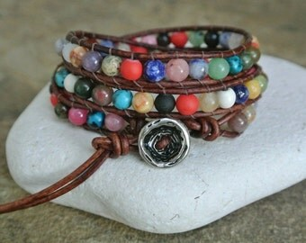 JustHipStuff  Classic Gemstone  Beaded Leather Wrap Bracelet
