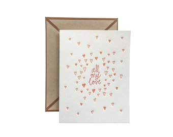 All My Love letterpress card