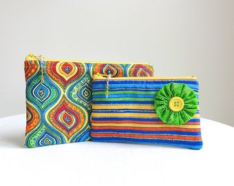 Colorful Zippered Bag Set  - Set of 2 - Blue, Orange, Green Yellow - READY TO SHIP