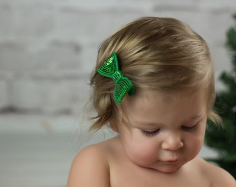 Green Sequin Hair Bow, Green Hair Bow, Girls Hair Bow, Sequin Hair Bows, Toddler Hair Bows, Baby Hair Bows, Holiday Hair Bows, Piggy Tail