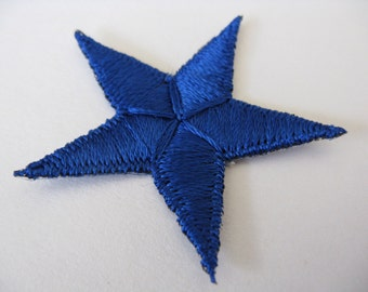 blue star patch 70s nautical iron-on military appliqué new old stock