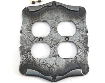 Antiqued Pewter 4 Plug Switch Plate Cover Amerock Hardware Vintage 1970s Mid Century Medieval Carriage House Industrial Salvage Home Decor