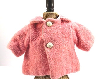 Pink Wool Two Button Doll Jacket Vintage 1940s Doll Coat