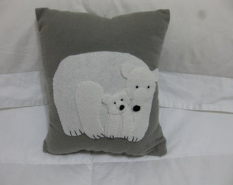 Polar bear with baby, on a wee hand sewn pillow 8 x 7