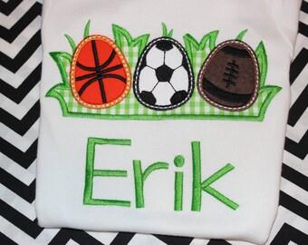 Easter Sports Eggs tshirt- basketball, soccer, and football