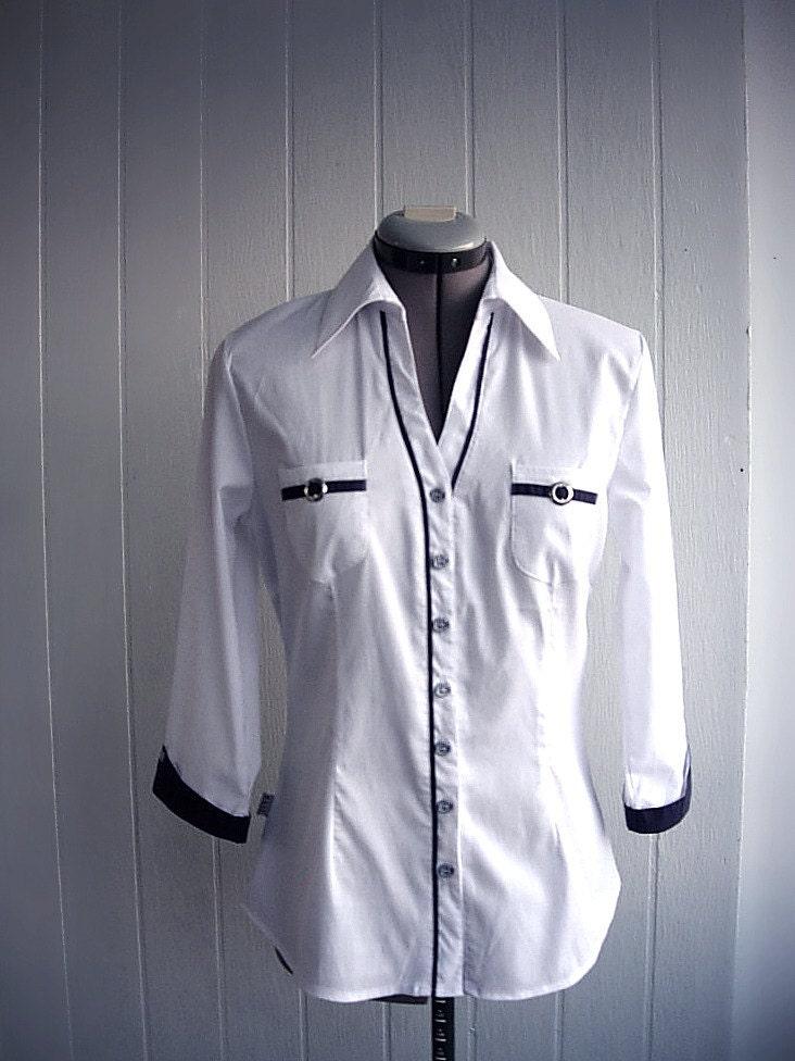 Elegant Tailored Dress Shirt Vintage Womens Shirt White Navy