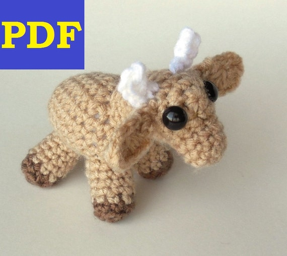 PDF Crochet Amigurumi Animal Pattern: Miniature Cow PATTERN