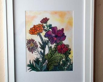 Unique Flower G A R D E N Original Art Print - 16x20 matted 11x14 Art - Watercolor - Zentangle - Sharpie - Ink