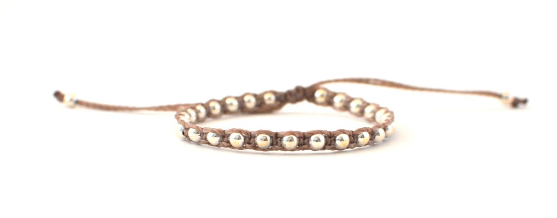 Light brown beaded bracelet. String bracelet. Bracelet with