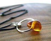 Amber Necklace, Natural Amber Necklace, Amber Gemstone, Sterling Silver, Simple, Petite - Amber's Autumn Nugget