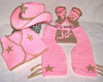 Baby Girl Clothes - Crochet Cowboy Baby Outfit - Newborn Photo Prop - Cowboy Photo Props - Western Newborn Costume - Sheriff Baby Costume