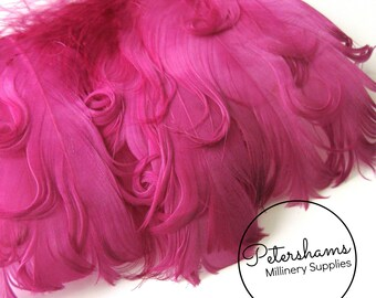 Curled Goose Nagorie Feather Fringe (around 8-10 feathers) for Millinery & Crafts - Cerise Pink