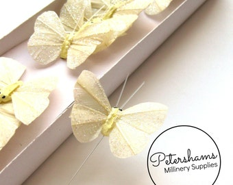 24 Glitter Wired Feather Butterflies 5cm - Ivory
