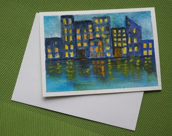 Cityscape - Hand Painted Modern watercolor Greeting Card