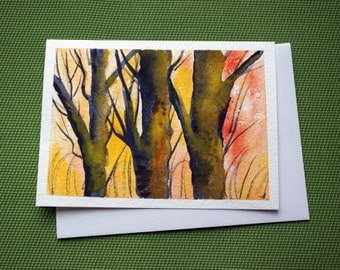 Trees in Autumn - Hand Painted Landscape Watercolor Greeting Card