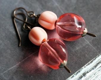 Bead Soup Jewelry - Peach Earrings - Pink Chunky Earrings - Drop Earrings - Ball Room Earrings