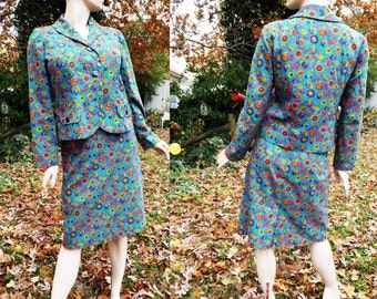 35% OFF Womens 70s Suit / 70s Costume / Vintage Skirt /Vintage Jacket / Vintage Suit /70s Skirt /70s Jacket in Delightful Floral Estimated S