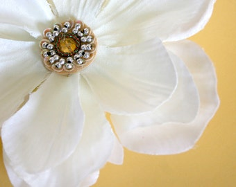 White Silk Embellished Peony -  Silk Flowers, Artificial Flower