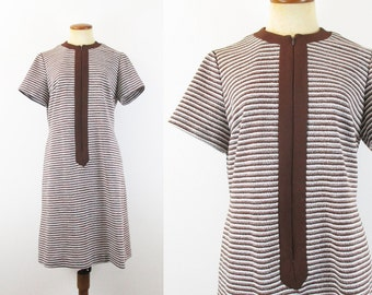 1970s Mini Dress Mod Brown Zip Front Scooter Dress Striped Shift Short Sleeve Day Vintage 70s Knee Length L Large Retro Seventies