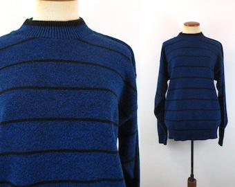 1980s Sweater Le Tigre Blue Black Pullover Stripes Vintage 80s Mock Turtleneck Jumper Long Sleeve Striped Men's Retro Hipster M Medium Small