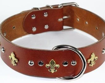 Tan Leather Fleur De Lis Dog Collar With Nickel Hardware  (made in ca) Free Shipping