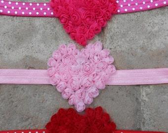 Set of 3 Heart shabby chic chiffon heart headbands hot pink light pink and red  infant toddler girls headband