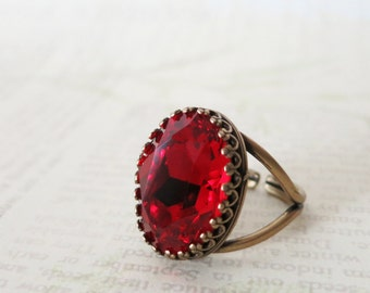 SALES - Siam Red Crystal Cocktail Ring, Brass Adjustable Ring Swarovski Crystal Oval Stone Cocktail Ring Rose Gold Vintage Statement Ring