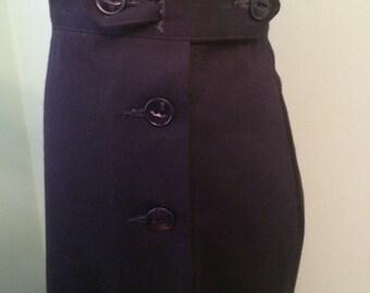 1930s 1940s    navy or black wool gabardine  slacks     custom made for your size