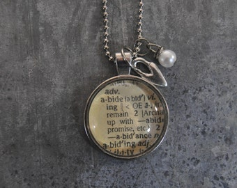 Vintage Dictionary Word Necklace ABIDE with charms