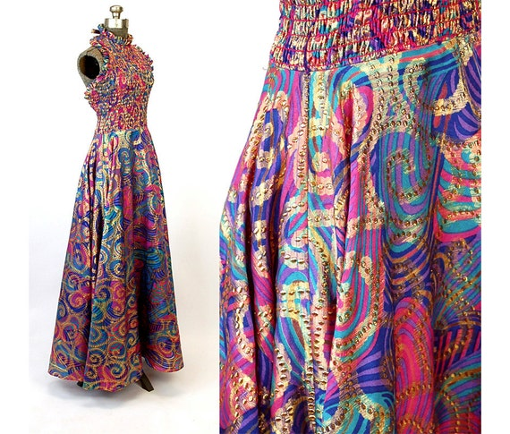 1970s Gown Gold Metallic Paisley Pink Purple Teal By