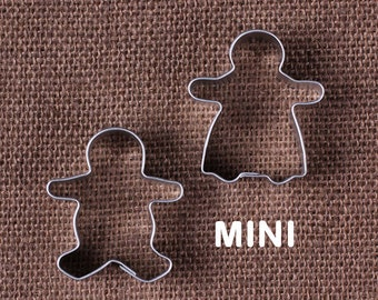 MINI Gingerbread Man Cookie Cutter Set of 2 with Mini Gingebread Man & Gingerbread Lady Mini Metal Cookie Cutters, Christmas Cookie Cutters