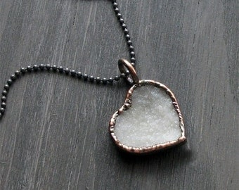 Love Heart Quartz Valentine Necklace Druzy White Natural Stone Necklace Pendant Rough Stone