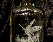 Recycled Small Amaretto Bottle Hand Etched Fairy Springing from the Wildflowers