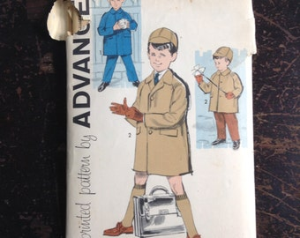 Vintage 50's Boys Coat, pants and cap sewing pattern.   Advance.  Size 6.   No. 9639.