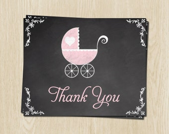 Chalkboard, Baby Shower Thank You Cards, Carriage, Girl, Pink, 24 Printed Folding Notes, FREE Shipping, CLKPK, Blackboard, Traditional