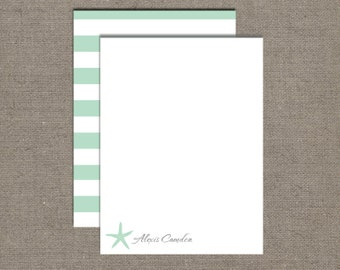 Notecards, Personalized Stationery,Starfish Mint, Professional, Set of 15 Custom Cards with Envelopes