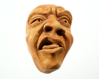 """Funny Art, Wall Art Face Sculpture Bathroom Decor Small Sculpture Cement Wall Hanging """"Disgusted"""" Wall Hanging Cement Sculpture Humorous Art"""