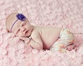 Purple Shabby Chic Chiffon Flower Skinny Elastic Headband - Newborn Baby Girl Photography Photo Prop