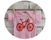 Light Pink Mountain Bike Baby Onepiece, Hand Printed Cotton Clothing, Short Sleeved, Infant Bodysuit, Baby Girl Gift, Orange Bicycle, Pastel