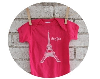 Bonjour French Eiffel Tower Baby Onepiece, World Travel, Cotton Baby Bodysuit, One Piece Infant Romper, Europe, France, Vavation, Hot Pink