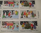 Sc. #2027~30 US Christmas Postage Winter Kids US Postage Stamp Sheet